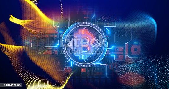 Cryptocurrency Bitcoin blockchain symbol digital encryption network on circuit board.