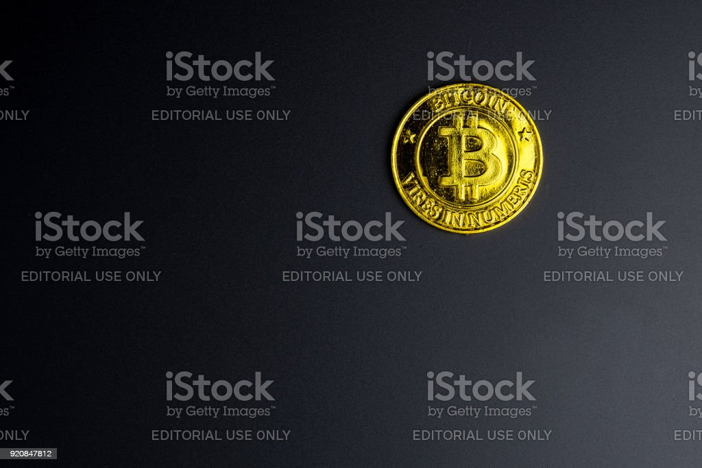Cryptocurrency Golden Bitcoins Coin On Black Background Digital