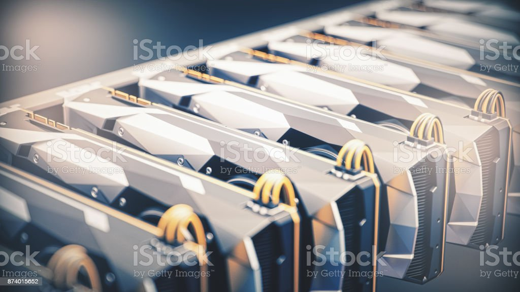 GPU Cryptocurrency Mining And GPU Rendering stock photo