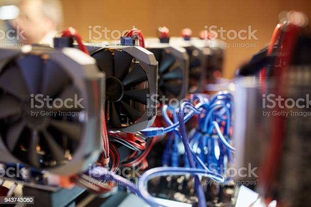 Cryptocurrency Mining Equipment Lots Of Gpu Cards On Mainboard Stock Photo - Download Image Now