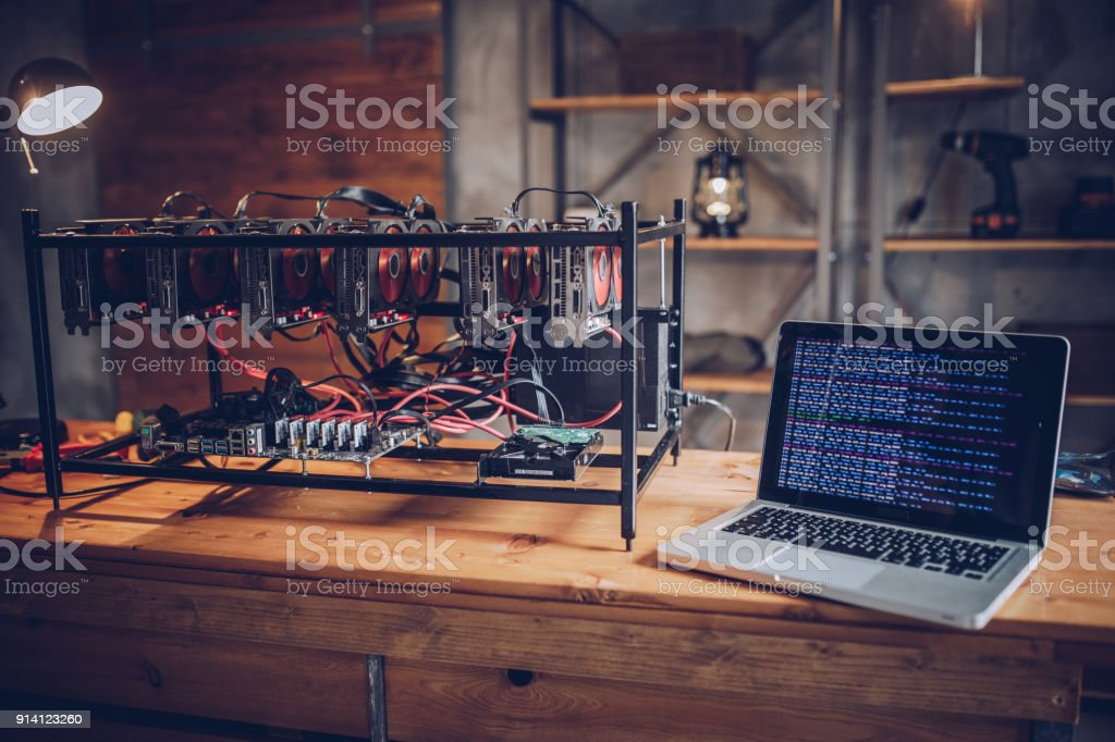 Cryptocurrency Mining Rig stock photo