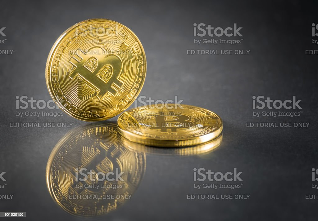 Cryptocurrency Physical Colored Bitcoin Coins Stock Photo