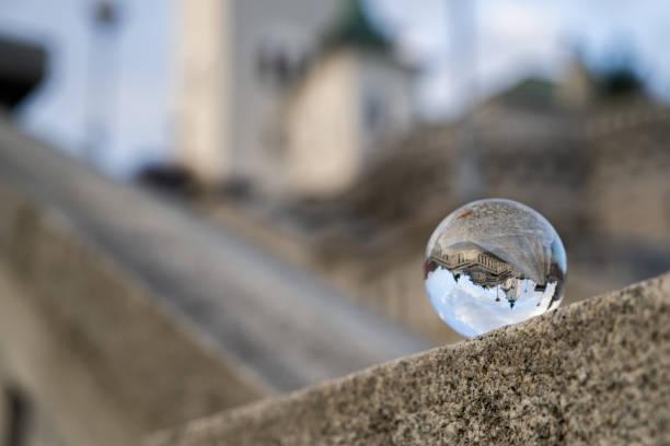 Crystal ball. Church in Ruzomberok, Slovakia stock photo