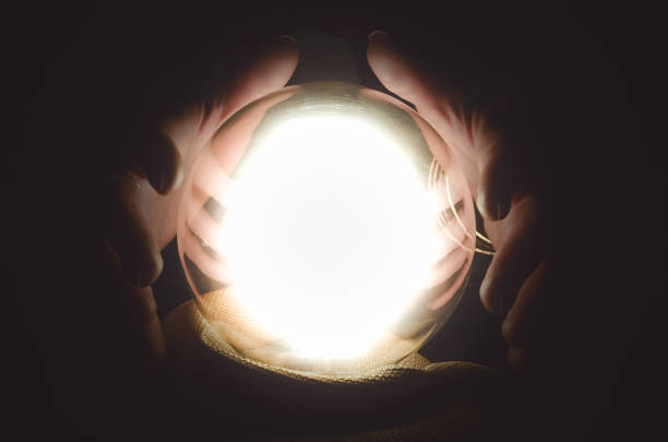 Crystal ball. Future reading. The seance. stock photo