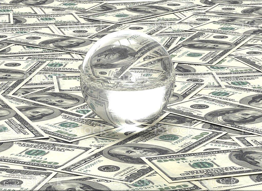 Crystal ball on one hundred Dollar bills royalty-free stock photo