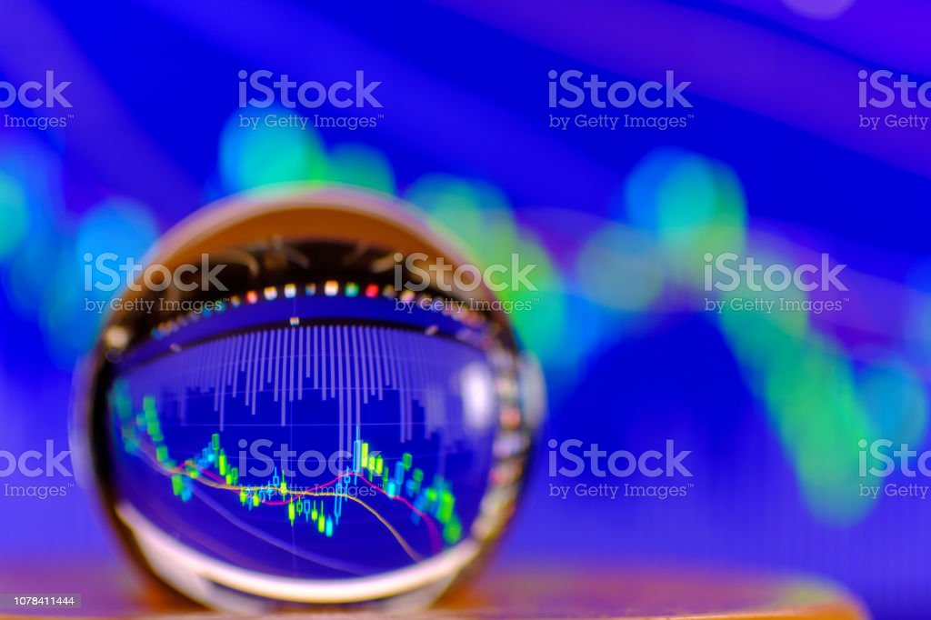 Crystal ball on the background of Stock Market Chart exchange trading stock photo