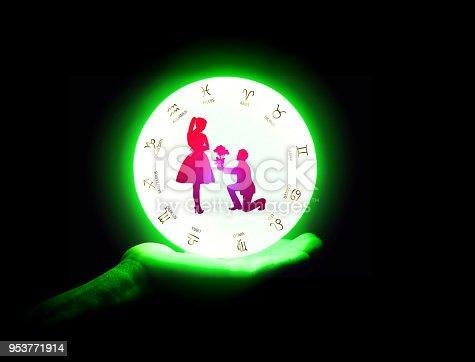 815224118 istock photo Crystal ball on the hand. 953771914