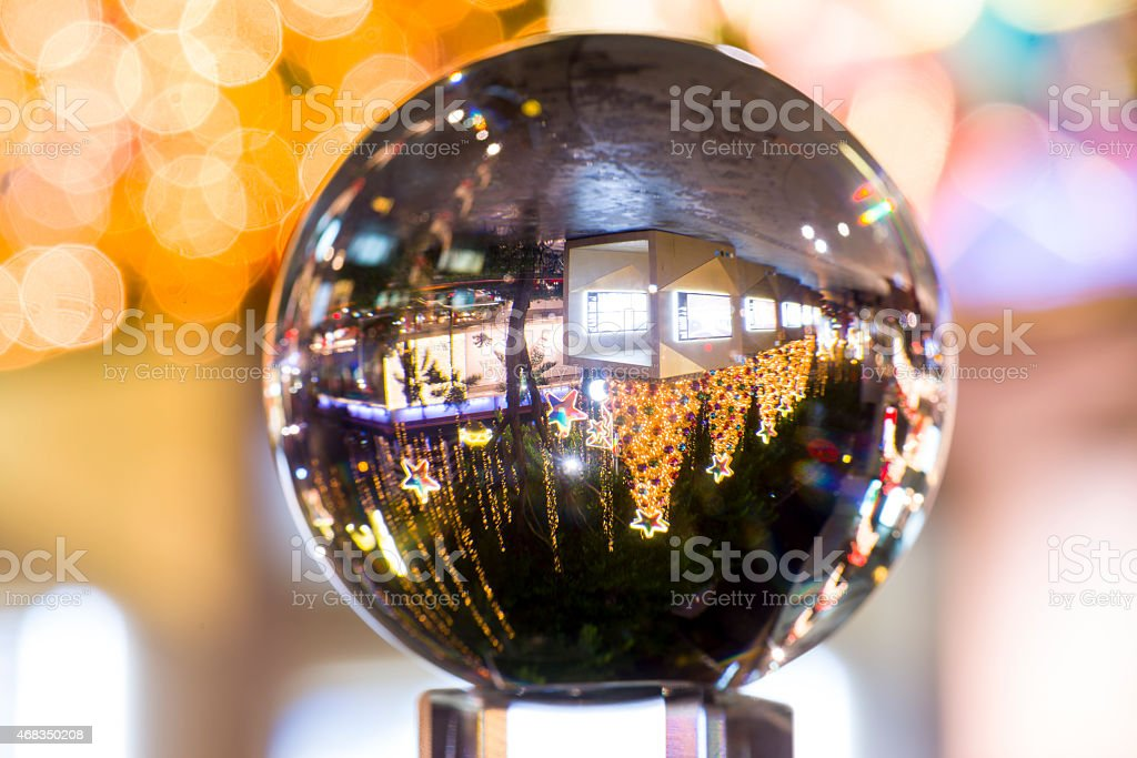 Crystal ball with reflection of Orchard Road Singapore royalty-free stock photo