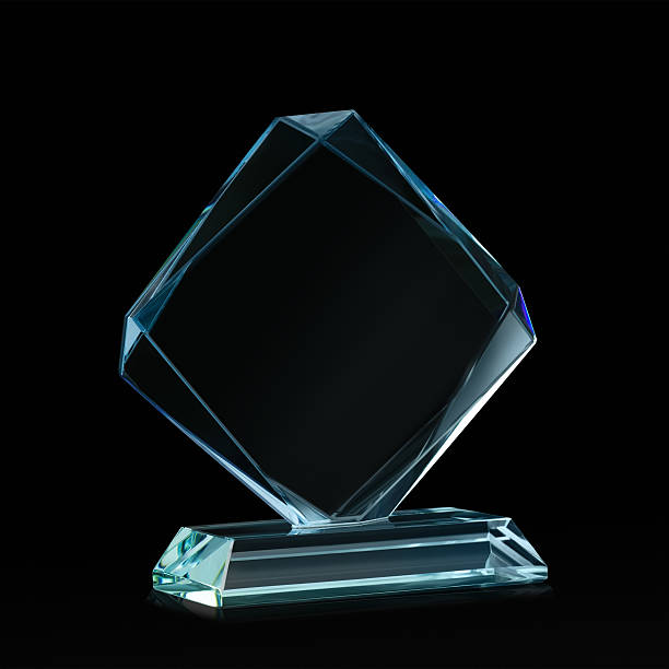 crystal blank for award on black - trophy award stock photos and pictures