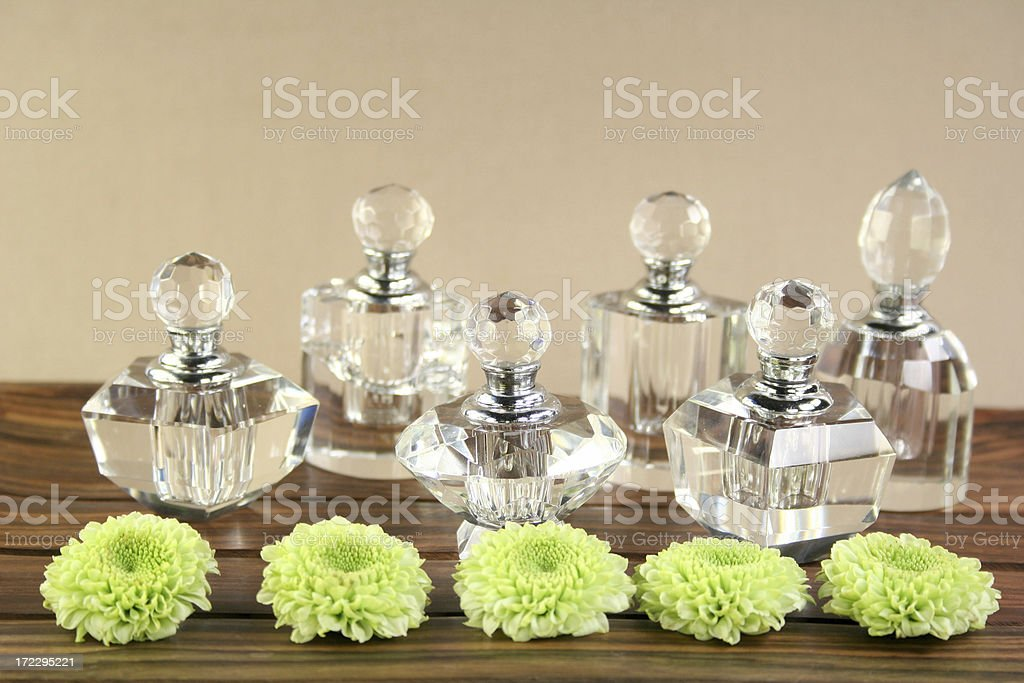 crystal bottles and flowers royalty-free stock photo