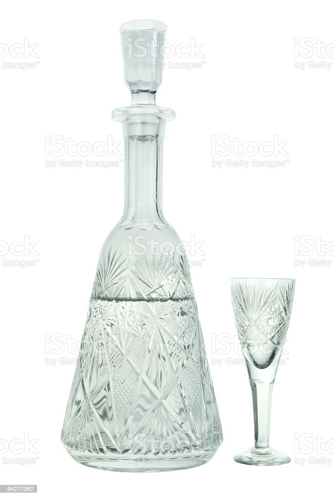 crystal carafe with a wineglass royalty-free stock photo