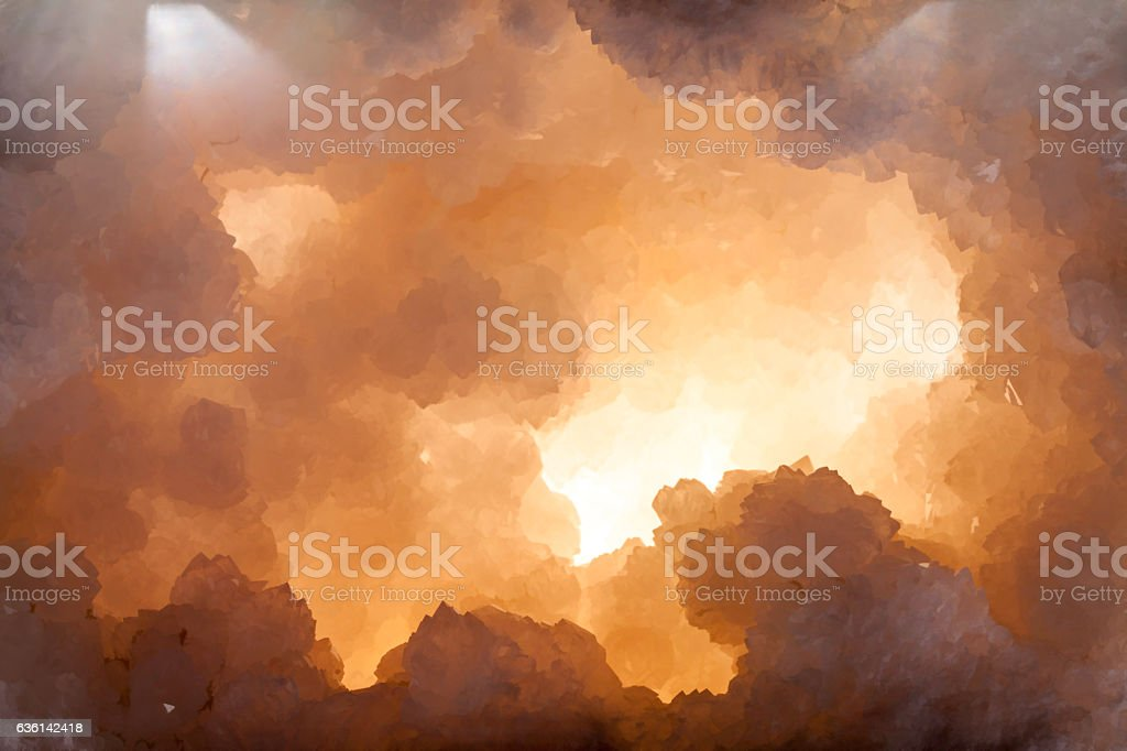 Crystal cave graphic representing creation stock photo