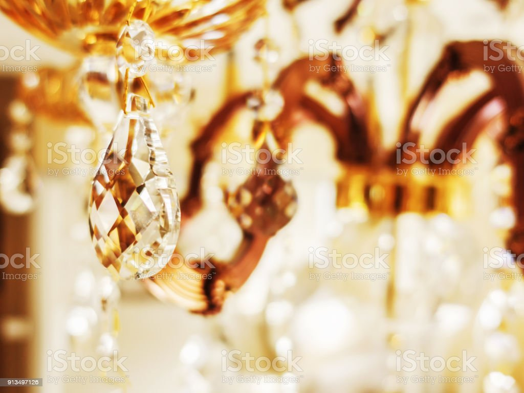Crystal chandelier close-up. Glamour background with copy space stock photo
