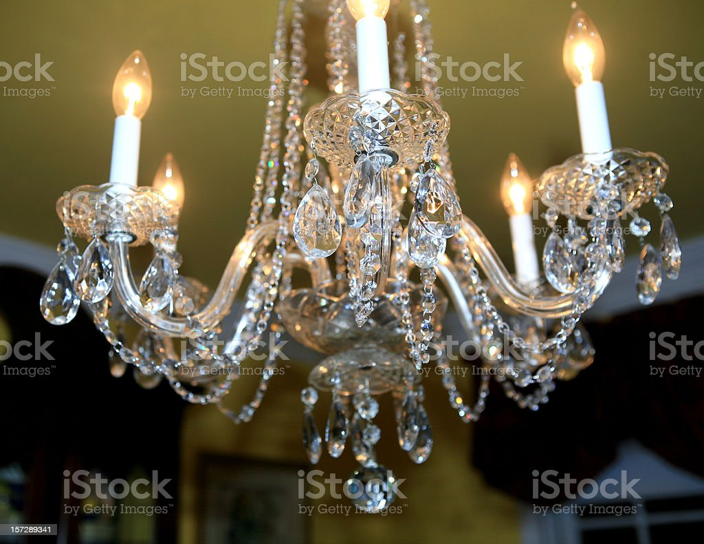 Crystal Chandelier Formal Dining Room royalty-free stock photo