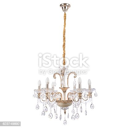 crystal glass chandelier isolated