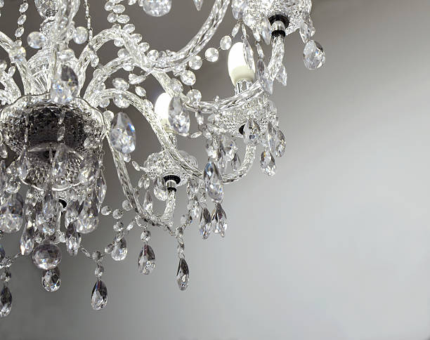 crystal chandelier with bright copy space - kroonluchter stockfoto's en -beelden