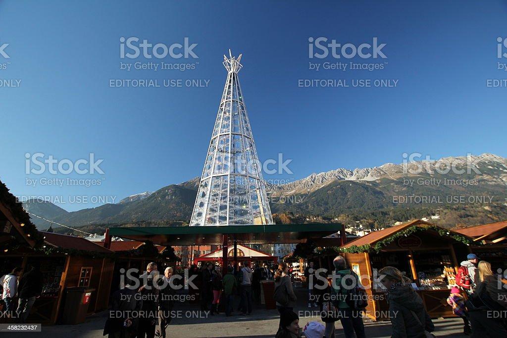 Crystal Christmas Tree, Innsbruck, Tyrol 2012 royalty-free stock photo