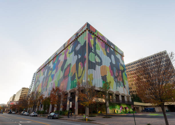 Crystal City / Arlington, Virginia office building, future site of Amazon HQ2, wrapped in colorful abstract art stock photo