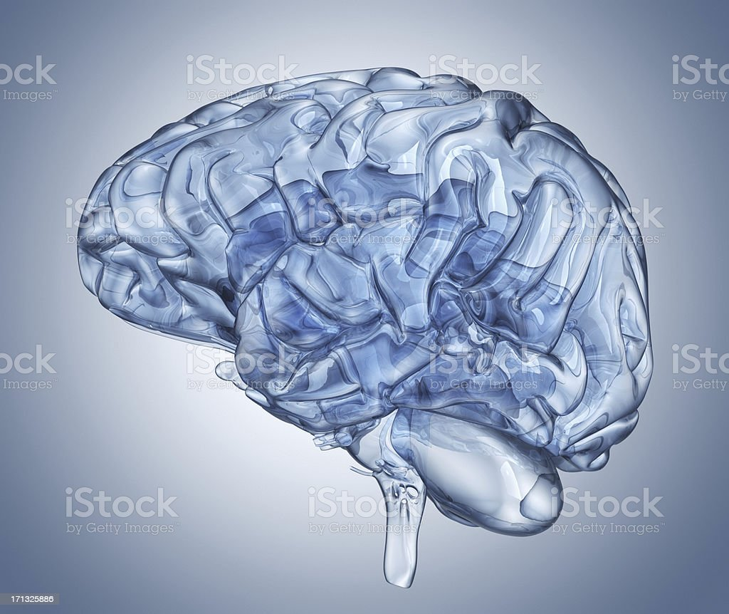 Crystal clear mind. Side view stock photo