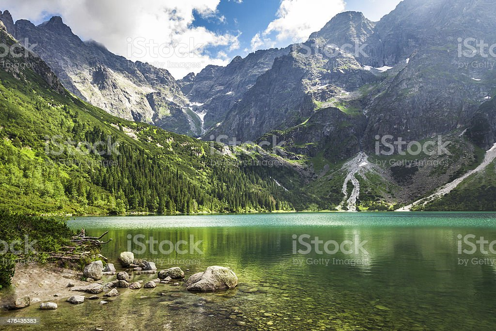 Crystal clear mountain lake and rocky mountains stock photo