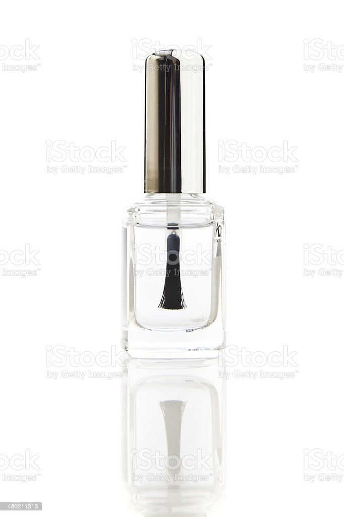 Crystal clear nail polish bottle on isolated on white stock photo