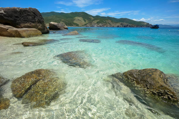 Crystal clear water beach stock photo