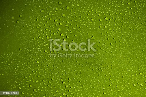 Crystal Clear Water Drops Over Green Background Stock Photo & More Pictures of Abstract