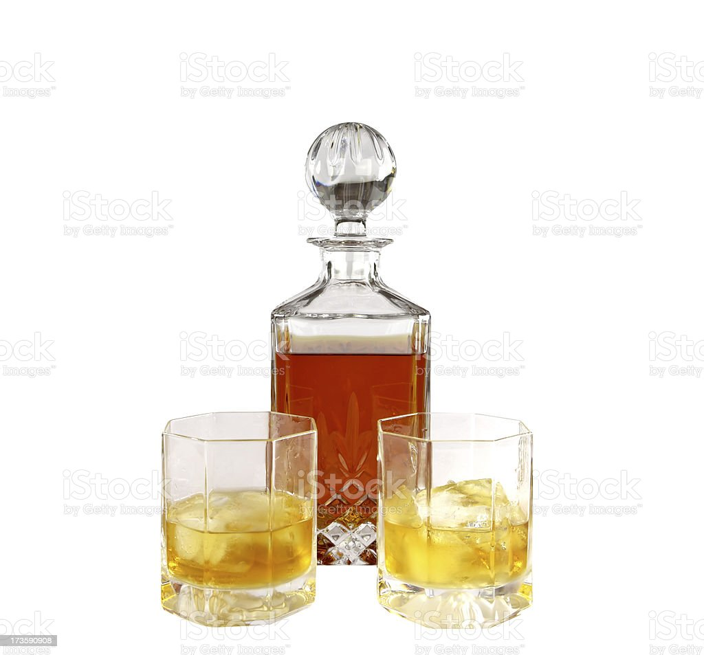 Crystal decanter with glasses royalty-free stock photo