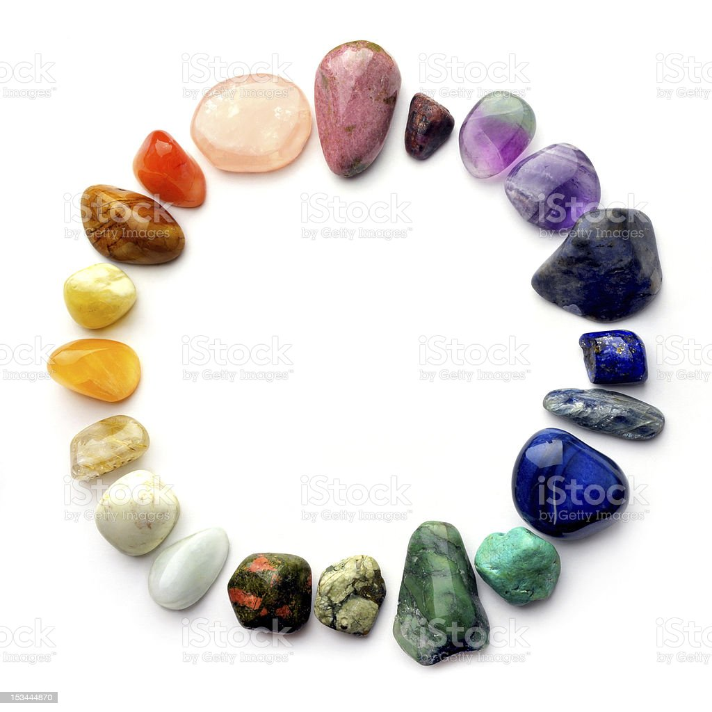 Crystal gemstones color spectrum stock photo