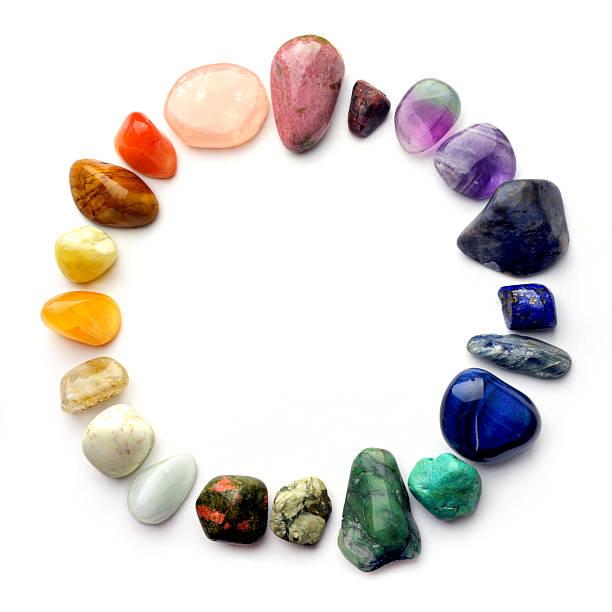 crystal gemstones color spectrum - kristall bildbanksfoton och bilder