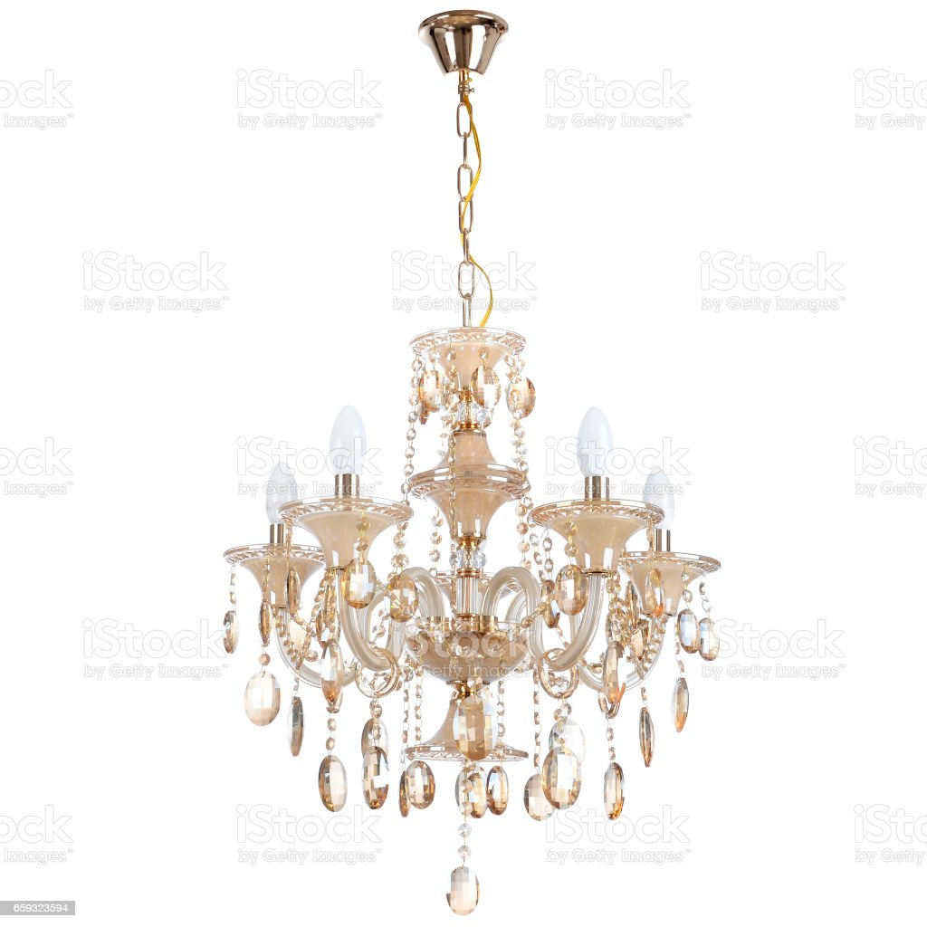 Crystal glass chandelier isolated stock photo