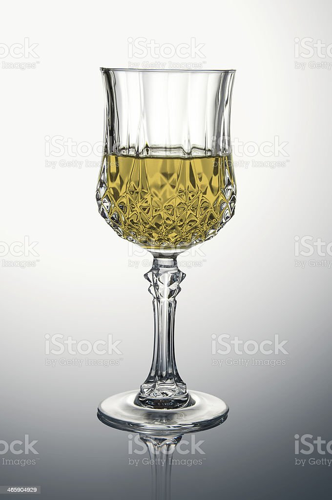 Crystal Glass with White Wine royalty-free stock photo