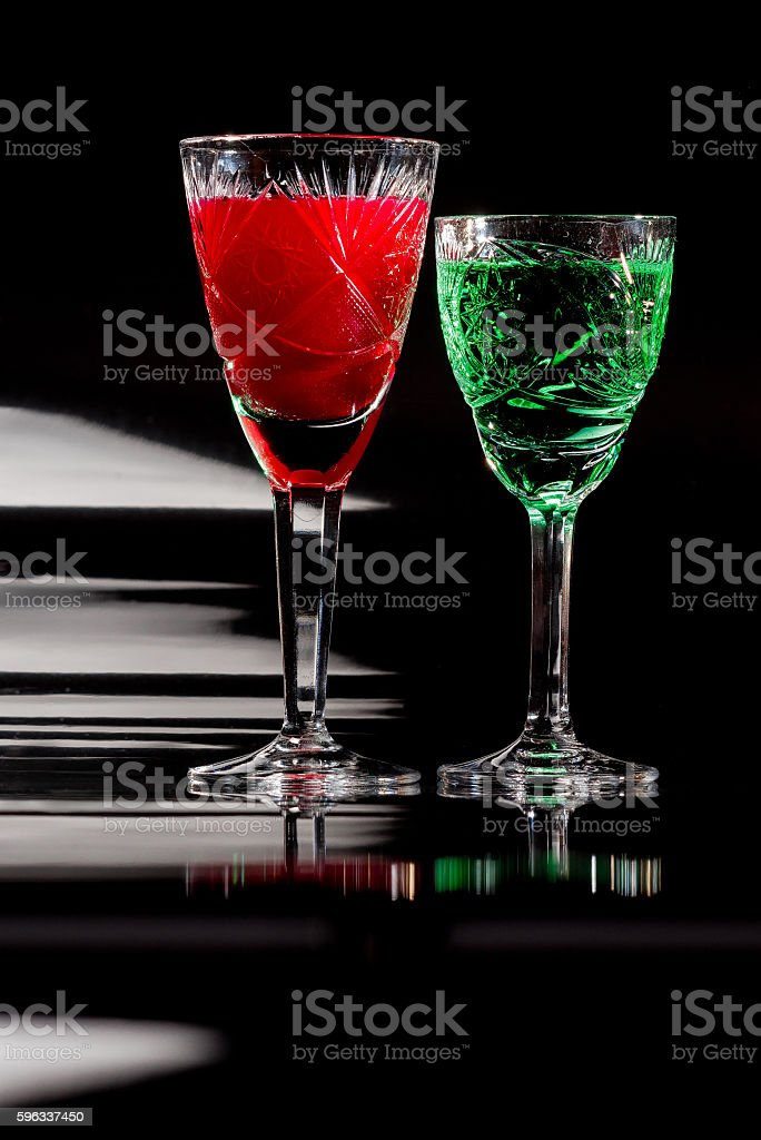 Crystal glassware with color liquids royalty-free stock photo