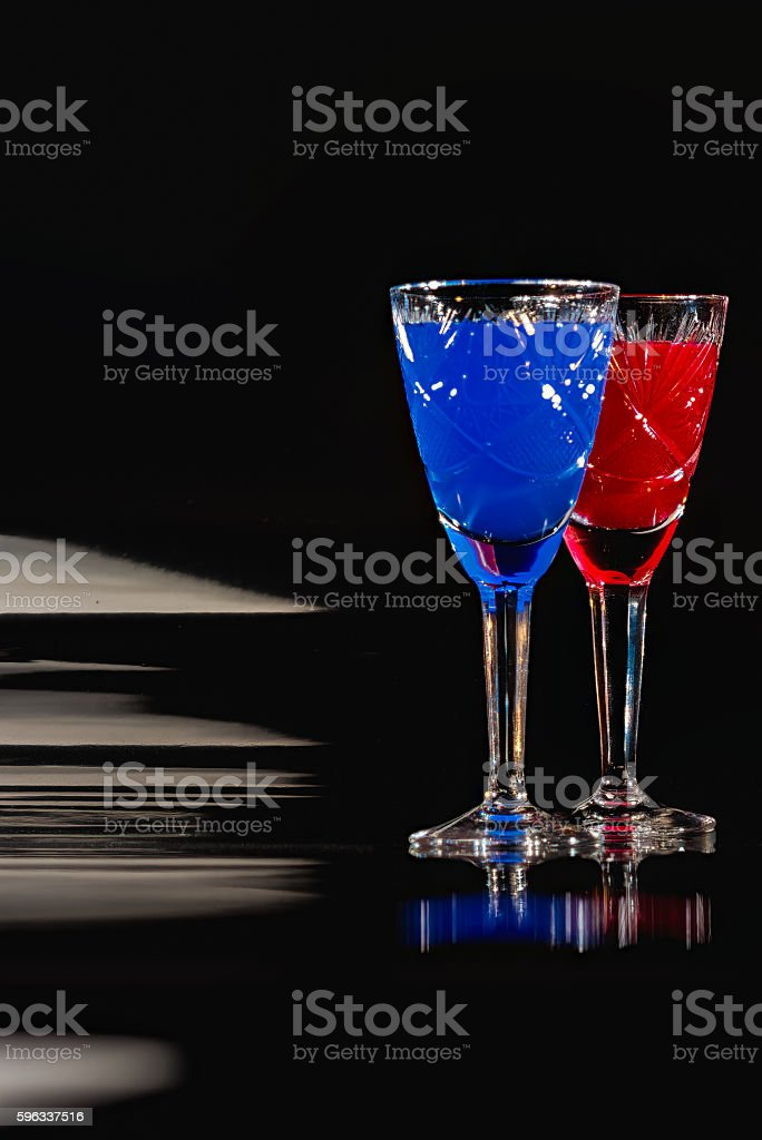 Crystal glassware with color liquids Lizenzfreies stock-foto