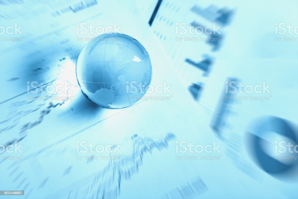 Crystal Global Ball With Stock Chart Report Document Stock Photo