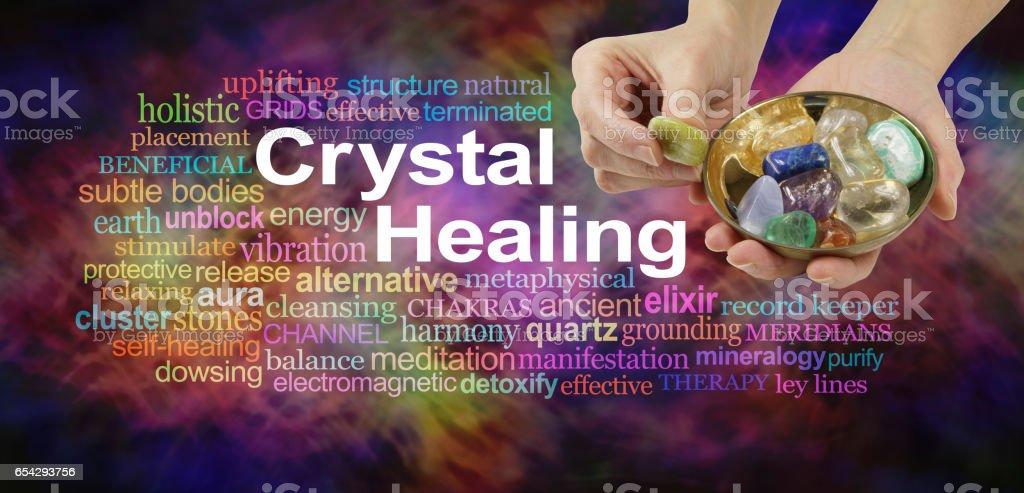 Crystal healing word cloud stock photo