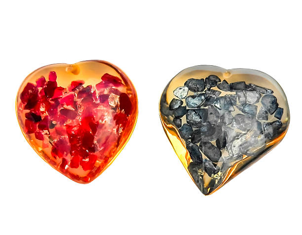 Crystal heart red & blue