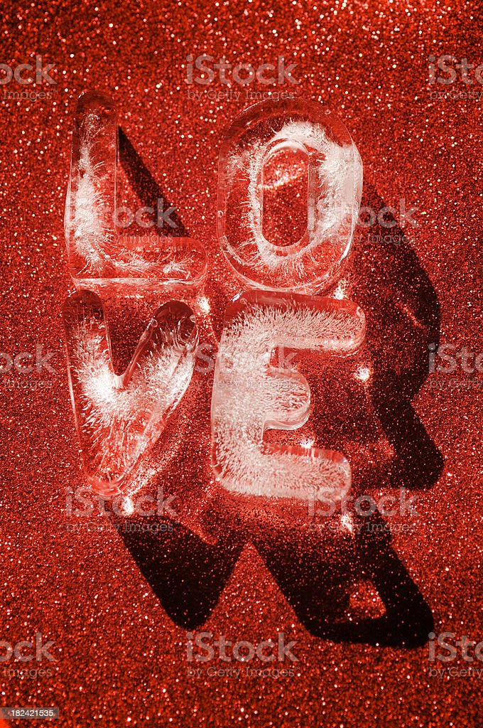 Crystal Ice Love on Red Sparkle Background stock photo