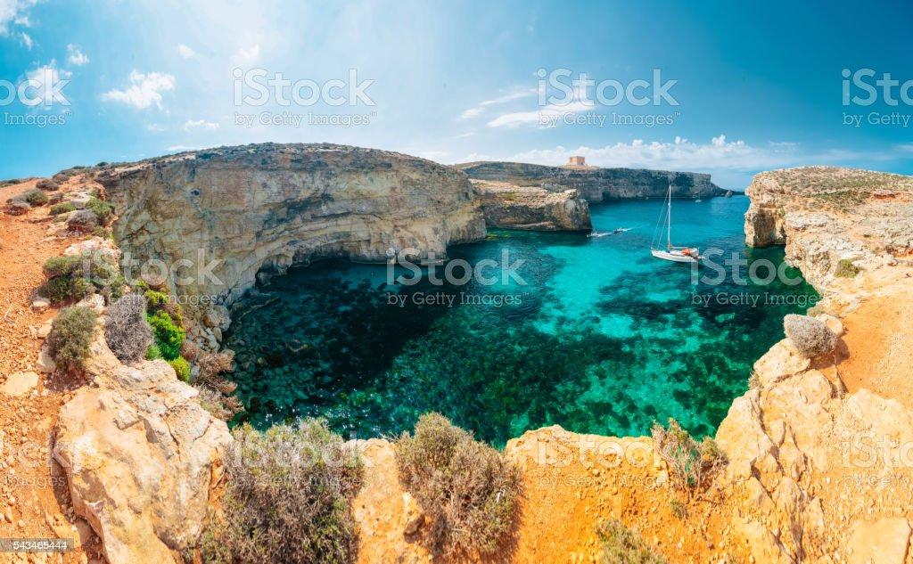Crystal lagoon, Comino - Malta stock photo