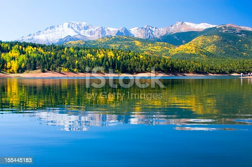 Crystal Lake at the base of 14,000 Pikes Peak Colorado in the autumn