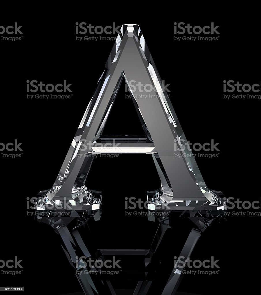 Crystal Letter A stock photo