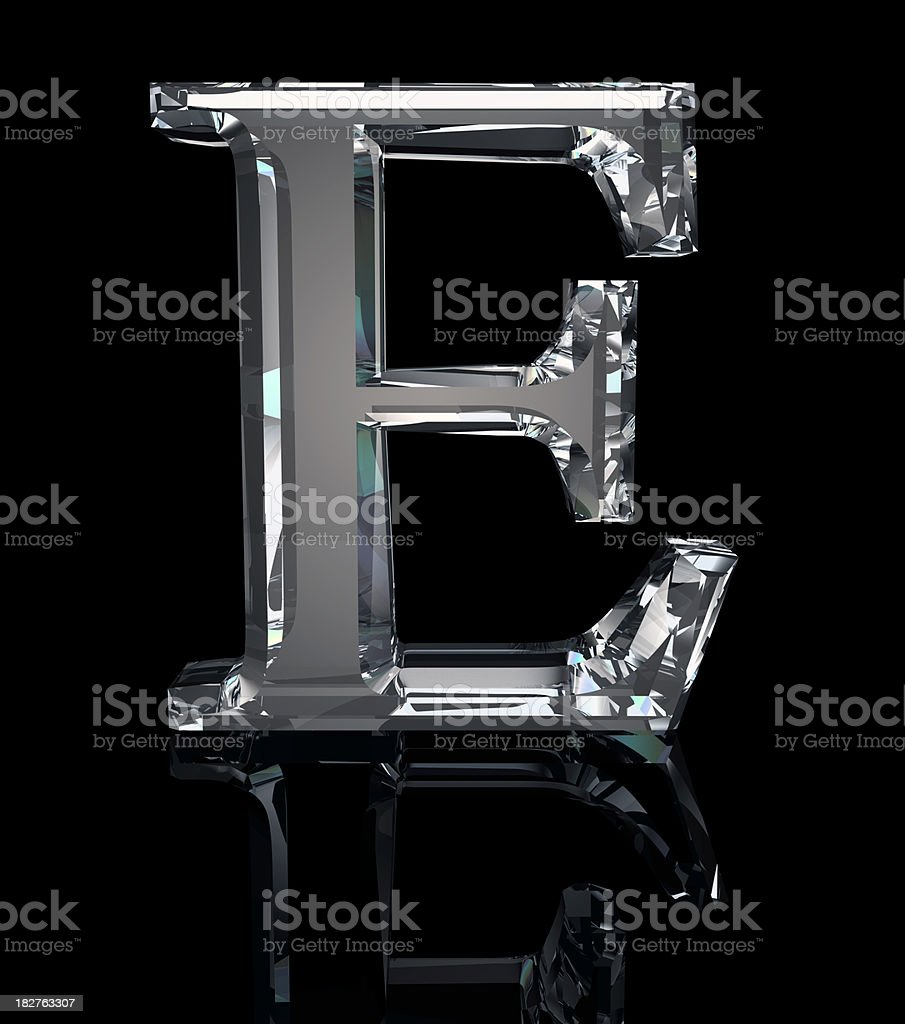 Crystal Letter E stock photo