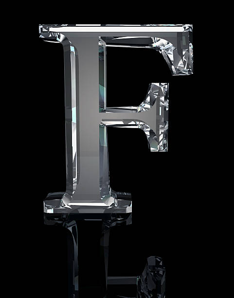crystal letter f - stone font stock photos and pictures
