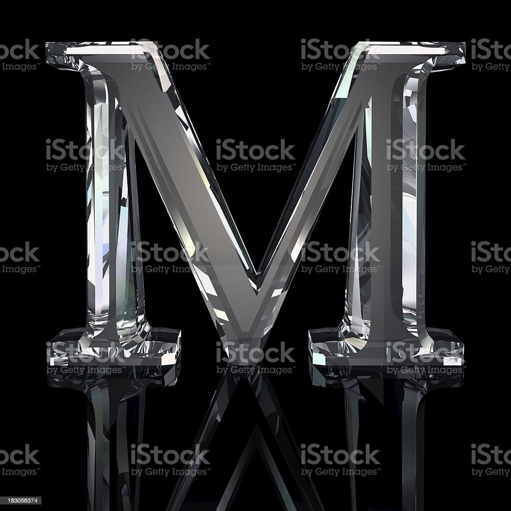 Crystal Letter M stock photo