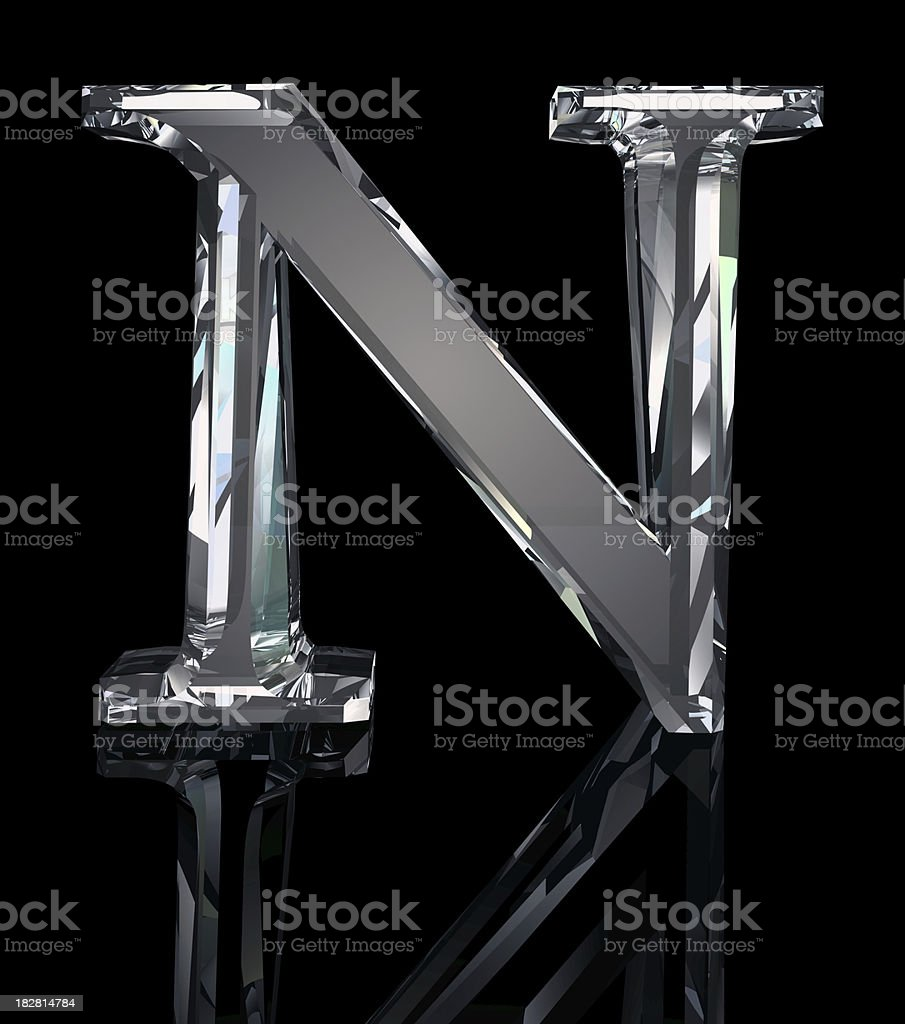 Crystal Letter N royalty-free stock photo