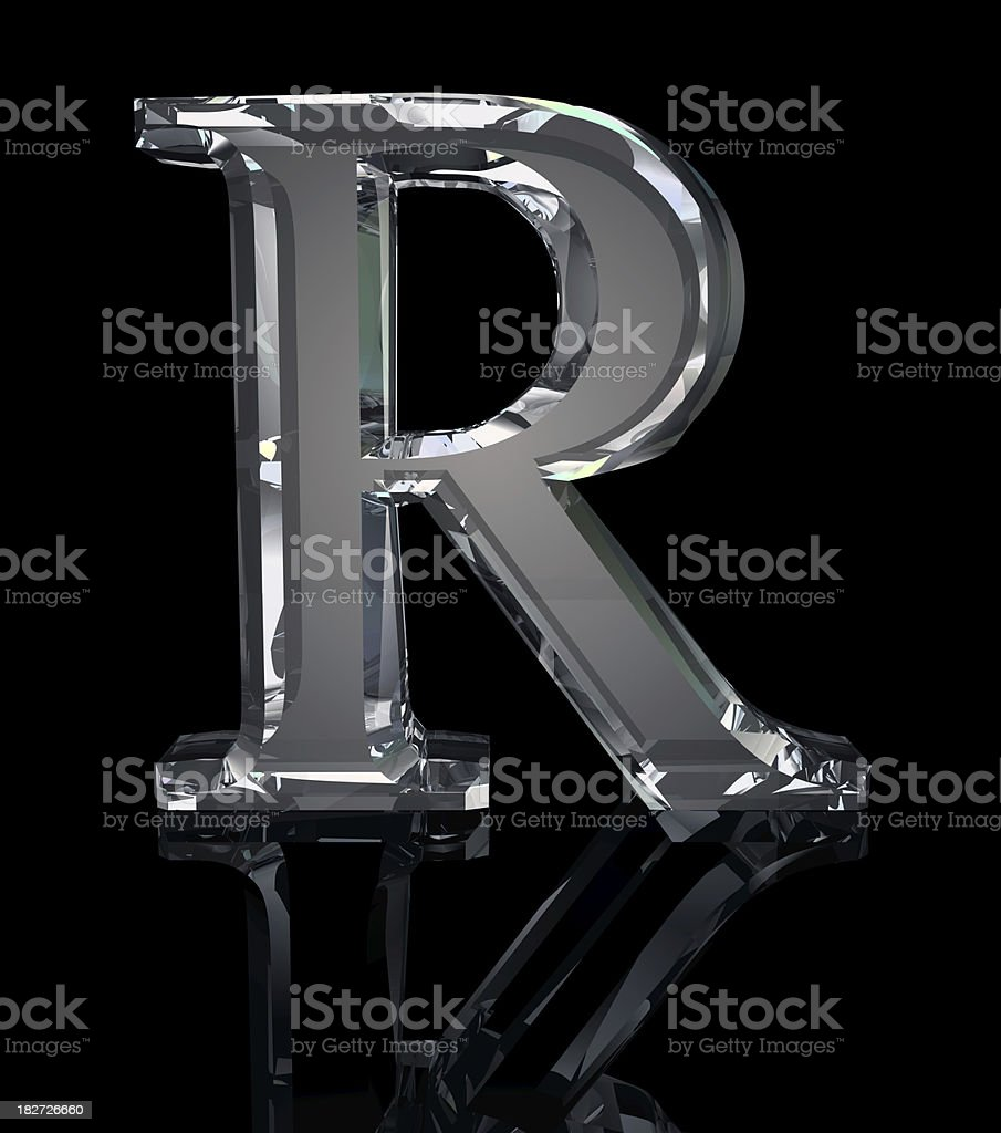 Crystal Letter R stock photo