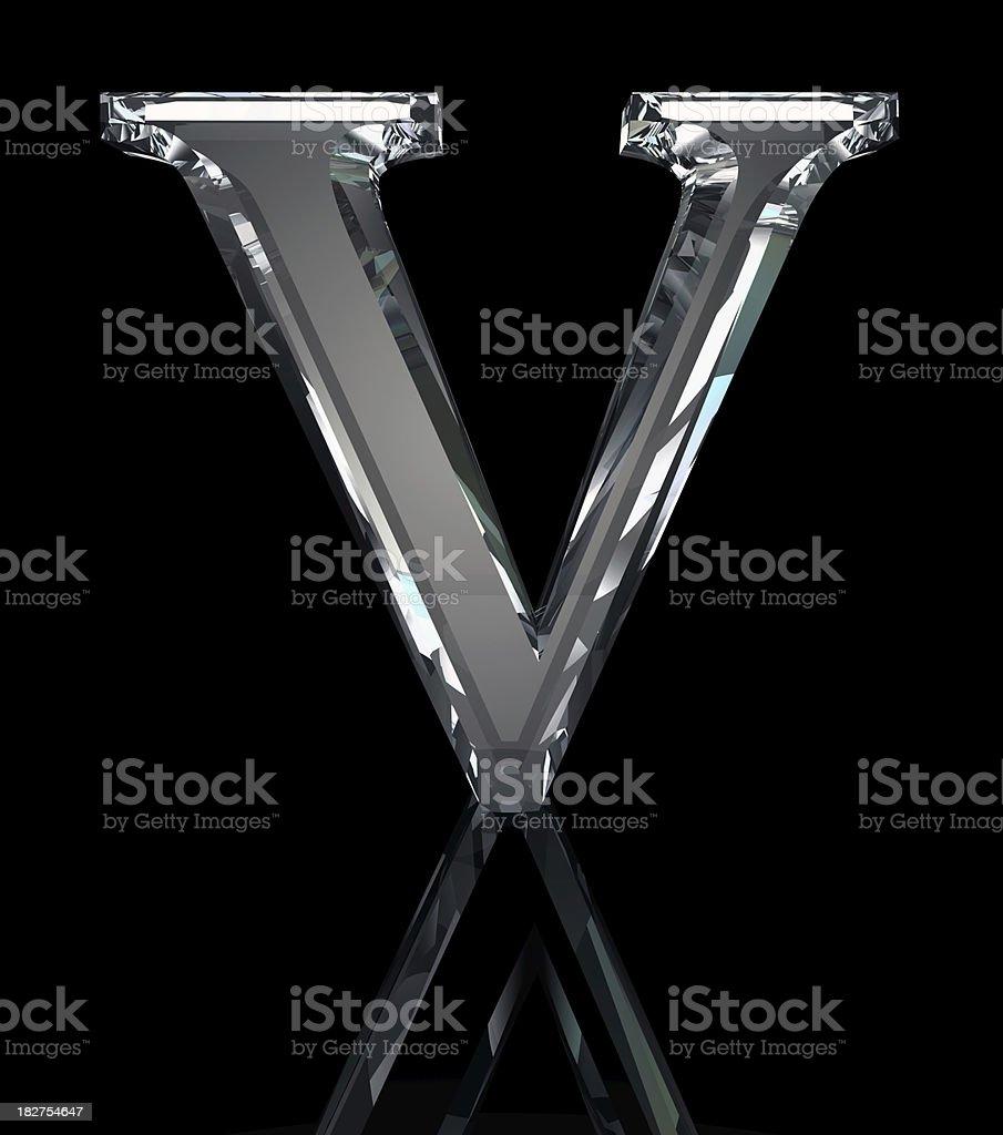 Crystal letra V - foto de stock