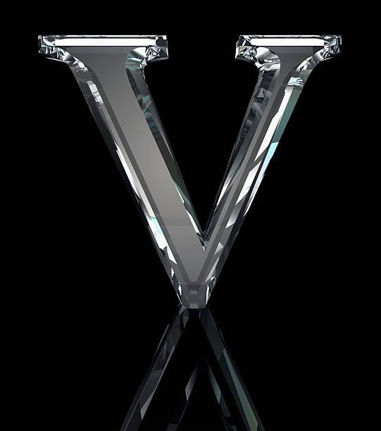 Crystal Letter V Stock Photo