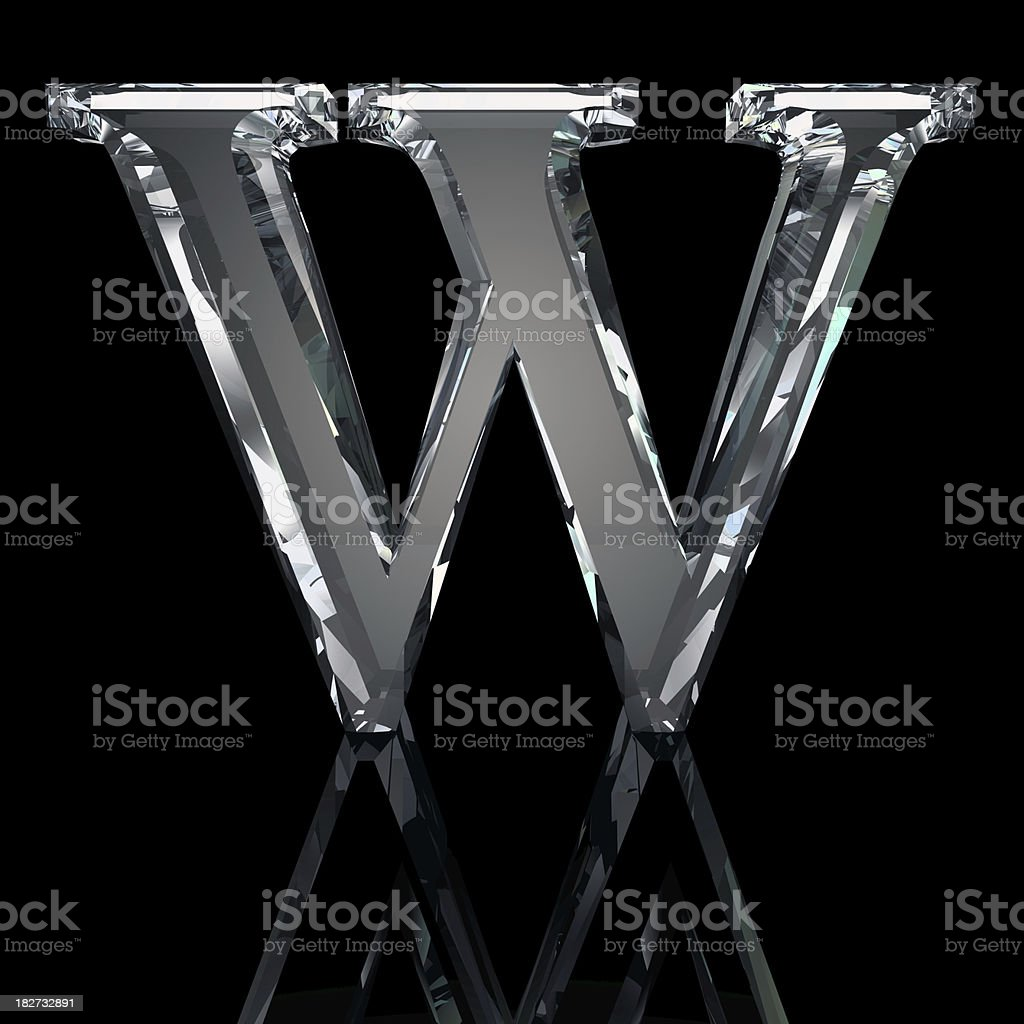 Crystal Letter W royalty-free stock photo