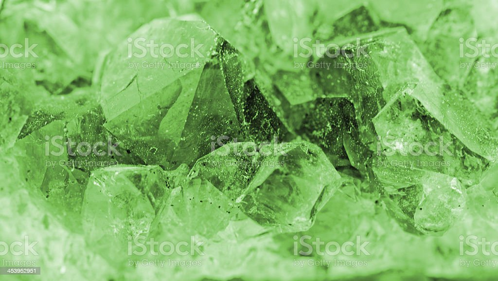 crystal macro photo in emerald color stock photo